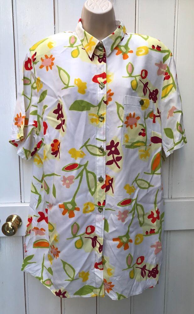 Bnwt Vintage 80 S Blanc Brillant Floral Robe Chemise Fit Jusqu 'à Une Taille 22 Festival