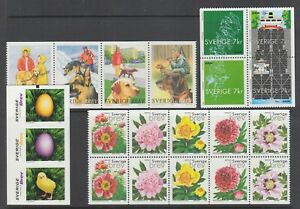Sweden-Sc-2408-2413-2414-2417f-MNH-2001-Booklet-panes-4-different-VF