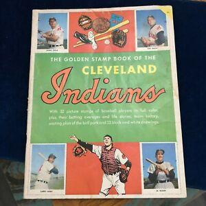 Vintage-1955-Cleveland-Indians-Golden-Stamp-Book-Missing-one-Coach-stamp