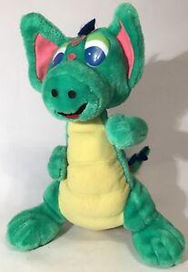 Vintage Dragon 12 Green Plush Stuffed Animal Big Eyes Ears Polka