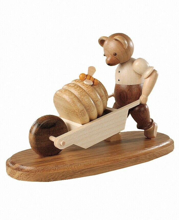 Bear with wheelbarrow, height 10 cm, erzgebirge original mulle... mu 45184 nine
