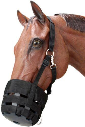 Nouveau Nylon pâturage museau cheval cob ou poney herbe museler Toutes Tailles Noir