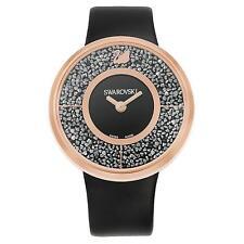 NEW WOMENS SWAROVSKI (5045371) BLACK LEATHER CRYSTALLINE ROSE GOLD WATCH