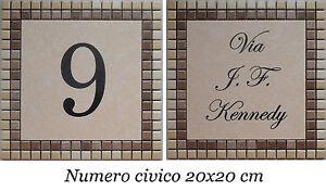 Promozione numero civico via incisi su piastrella di ceramica e