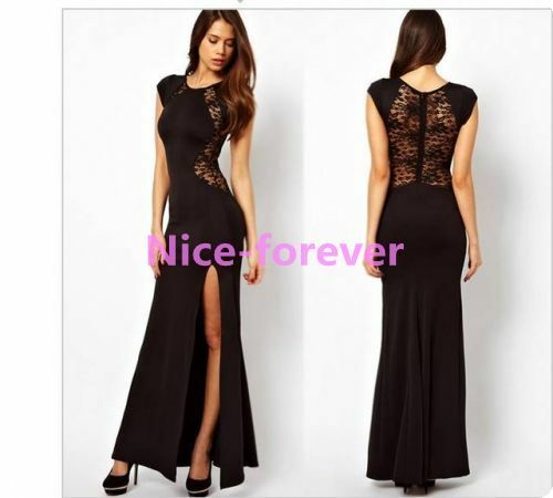 Womens Elegant lace Evening Cocktail Party High Waist Long Maxi Gown Dress N731