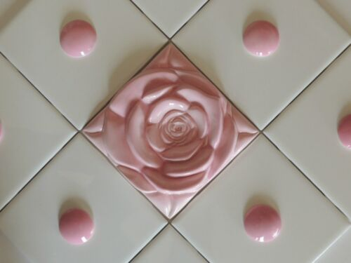 Rose Tile Arts /& Craft Home Decor in Pink Wall art  Decor Rose Tile Pink Roses