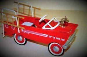 1950-Plymouth-Pedal-Car-Fire-Truck-Vintage-Metal-gt-gt-gt-READ-FULL-DESCRIPTION-PAGE