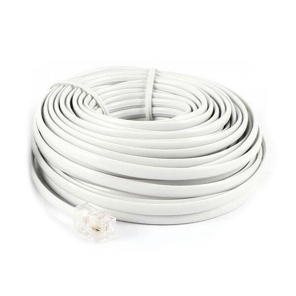 40Ft 12M RJ11 6P2C Telephone Phone Modem Cord Cable White 2pcs WS T8R5