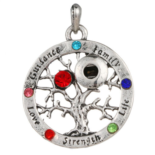 Hot Women Jewelry Necklace Pendant Fit 12mm Noosa Snap Button Life Tree N125