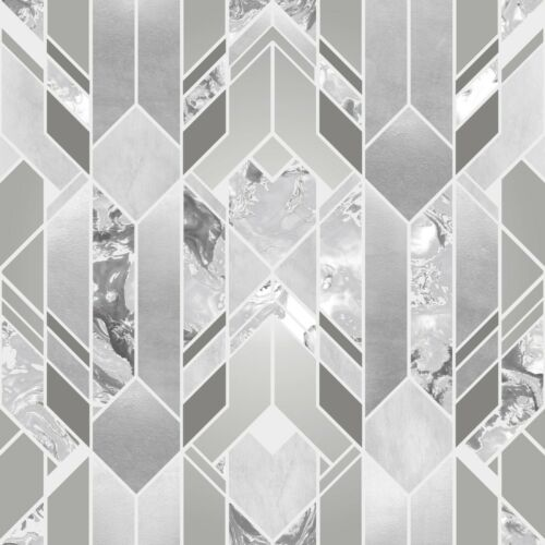 Elixir Geometric Marble Wallpaper Metallic Grey Silver Muriva 167501