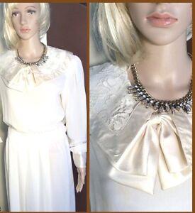Vintage 1980's Beautiful Off-White Sheer Executive Dress by Albert Nipon size 10