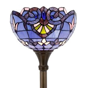 Tiffany Style Torchiere Floor Lamp Blue Peach Jewel Stained Glass