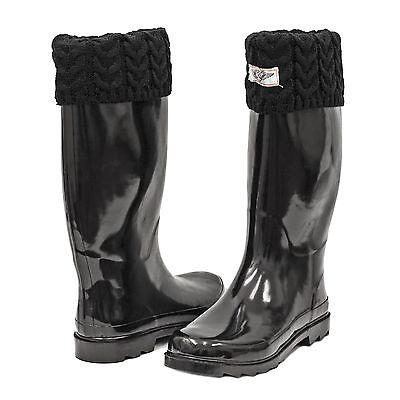 Women Rubber Rain Boots * Waterproof Warm Faux Fur Lined & Knit Top Cuff Styles