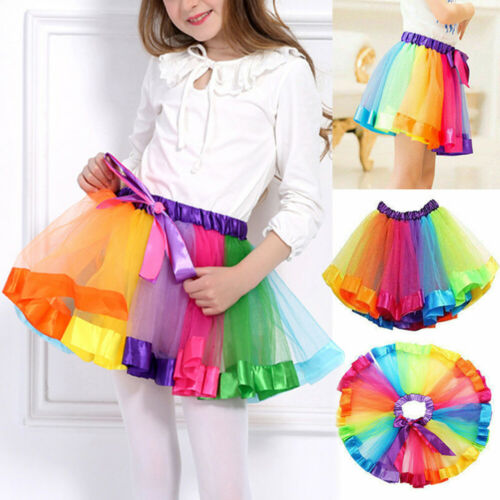 Girls Rainbow Tutu Skirt Multicoloured Petticoat Kid/'s Costume Ballet  Dance