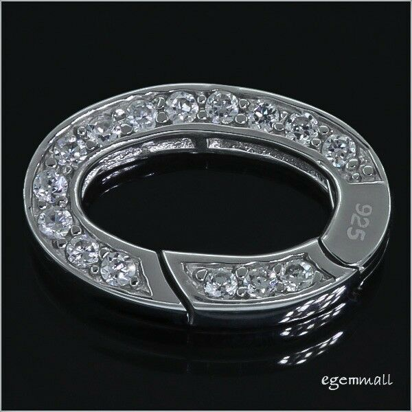 Sterling Silver CZ Oval Shortener Enhancer 2-Side Auto Close Clasp 21mm #97240