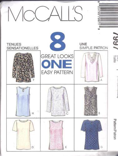7997 UNCUT McCalls Vintage Sewing Pattern Pullover Tops Shirt 8 Looks OOP SEW FF