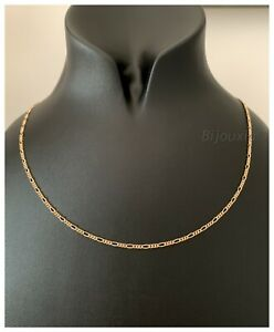 Chaine-Fine-Maille-Figaro-50-cm-x-2-20mm-Plaque-or-18-Carats-750-1000-Bijoux