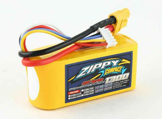 Zippy Compact 1300mAh 4S 14.8V 40C 50C RC LiPo Battery Pack XT-60 XT60