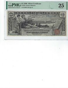 1896-1-Silver-Certificate-FR225-PMG-25-VF-Bruce-Roberts-High-Quality