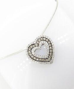 A-0-98cttw-Two-Tone-Diamond-Set-14K-Gold-Ladies-Heart-Pendant-amp-Chain-Val-3900
