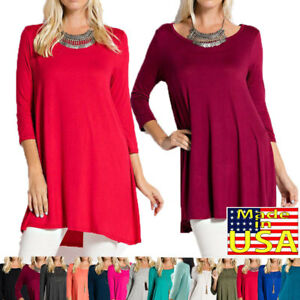 Women-039-s-Tunic-Top-3-4-Sleeve-Round-Neck-Shirt-Dress-Plus-S-3XL-Made-In-USA
