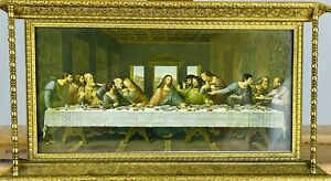 "(after) LEONARDO DAVINCI ""The Last Supper"" Antique Chrimolithograph Ornate Frane"