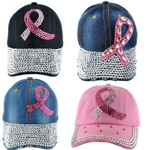 rhinestone Breast Cancer Awareness Clear Ribbon bling Baseball cap hat black