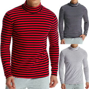 33f3f7965d19 Homme manches longues Transverse T-shirt Rayures col roulé Slim Fit ...