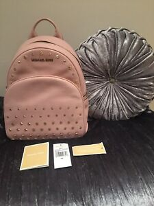 Michael-Kors-Backpack-Bag-Abbey-Medium-Blossom-Pink-Studded-Leather-RRP-398