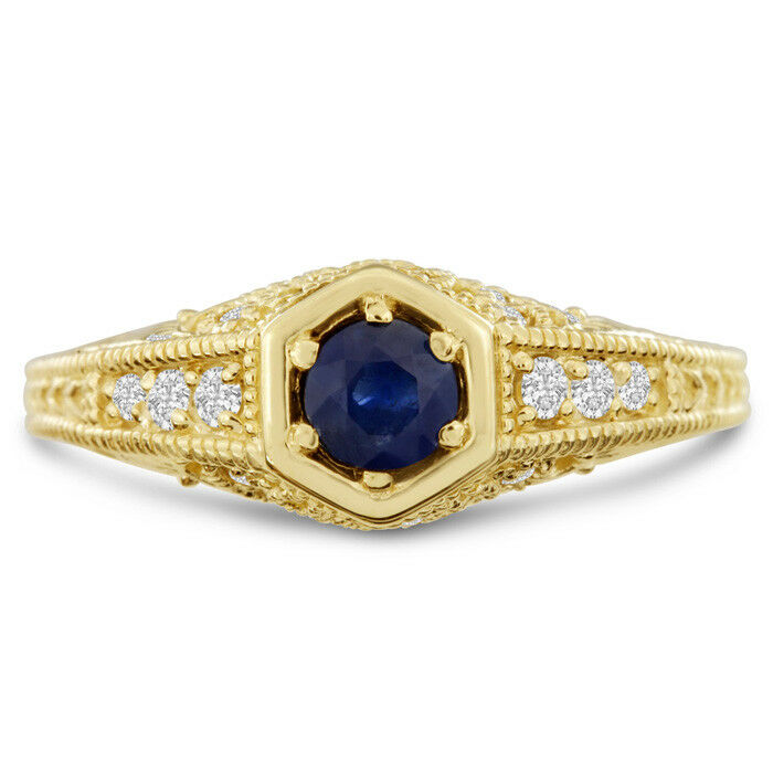 14 K YELLOW gold ANTIQUE 3 4CT SAPPHIRE AND DIAMOND ENGAGEMENT RING