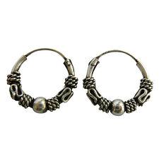Pair Of Sterling Silver ( 925 )  Bali  Ball  Hoop Earrings 12 mm  !!     New !!