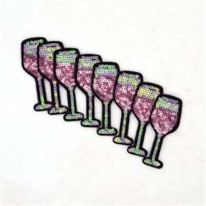 2-12PC-Juice-Cup-Wine-Glass-Sequins-Embroidery-Sew-Iron-On-Patch-Badges-Applique