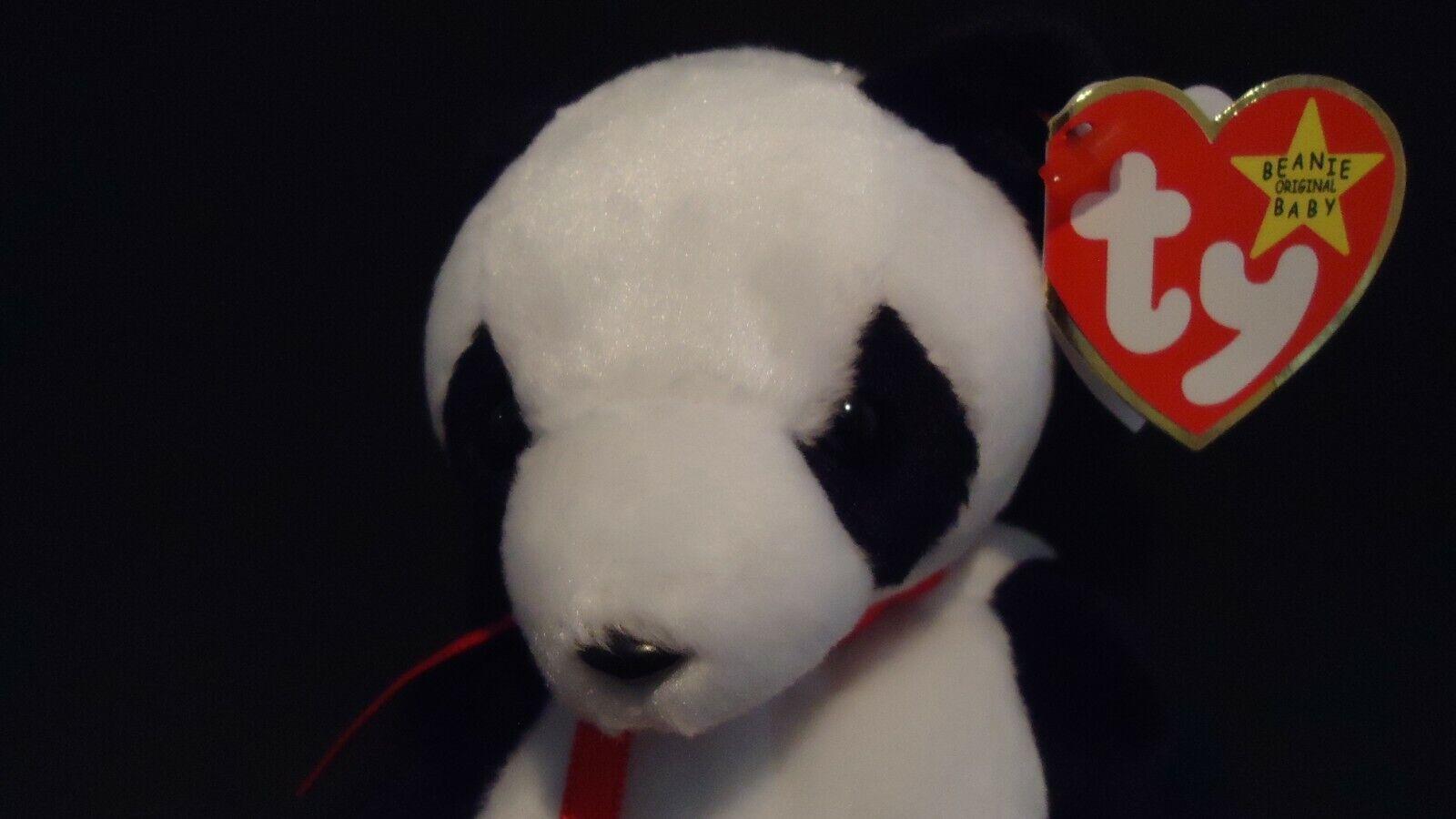 Ty Beanie Baby  Fortune  Panda Bear Retired Errors RARE Left ARM Flat (GASPORT)