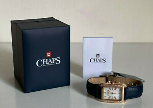 NEW-CHAPS-REECE-ROSE-GOLD-CRYSTALS-BEZEL-NAVY-GENUINE-LEATHER-WATCH-110-SALE