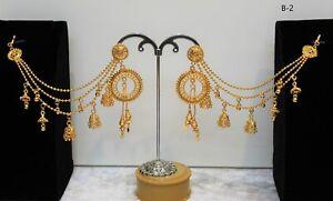 Bahubali Indian Jewelry Ethnic Pearl Polki Jhumka Jhumki Earrings Kaan Chain Set