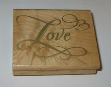 Love Rubber Stamp Swirls Heart Elegant Wood Mounted A860E Stampede