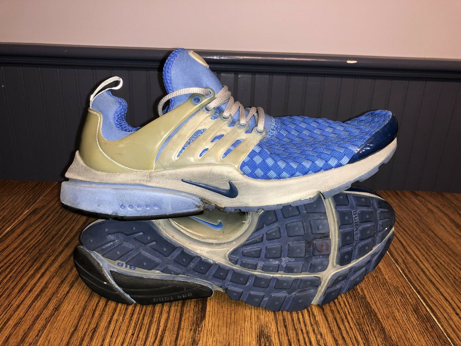 2002 Uomo Nike Air Presto Woven Athletic Shoes 302733-441 Size Small (9-10) Blue
