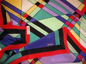 Vintage Raro Loredano Mondrian Foulard Fungo Crepe 87x85cm 100Multicolore UVzpMS
