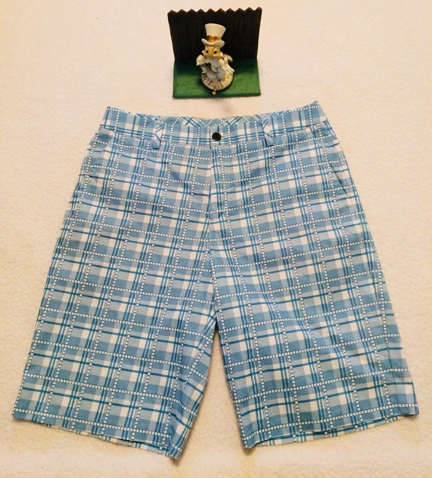 Férfi Adidas Athletic Golf Shorts méret 32 Plaid Polyester ClimaLite  rövidnadrág NEW 106372 54818babc5