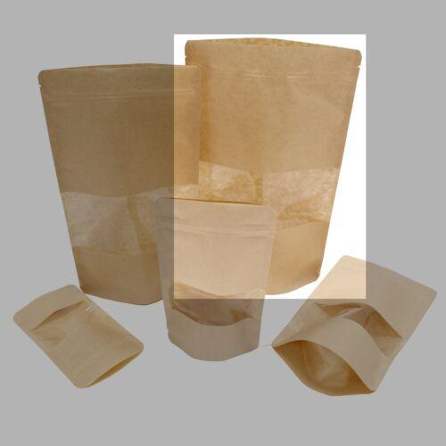 100 x Kraft Stand Up Pochette avec produit Fenêtre-Quatre tailles disponibles