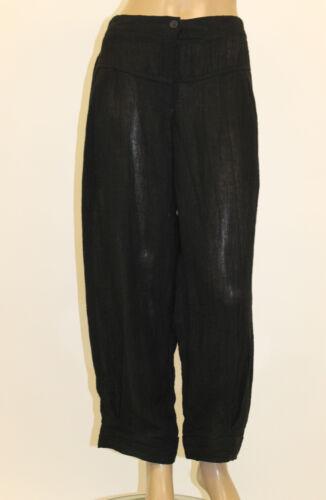 Os ritssluiting Sz 12395 Euro linnen gestreepte broek zwart Transparente gaas ED29IH