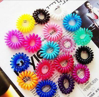 Women's 10 Pcs Colorful Girl Elastic Rubber Hair Ties Band Rope Ponytail Holder