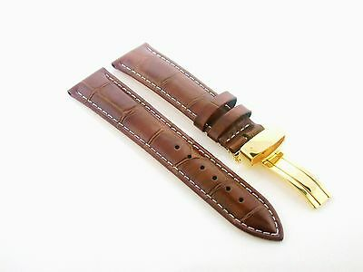 19MM LEATHER WATCH BAND STRAP CLASP FOR 34MM ROLEX DATE AIRKING L/BROWN GOLD #1