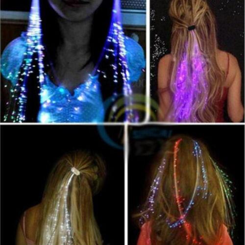 LED Light up Fiber Optic Costume Hair Flash Barrette Clip Braid Christmas Party