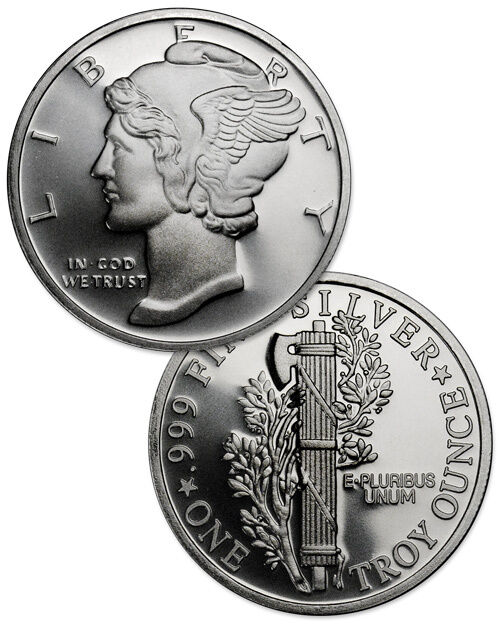 Mercury Design 1 Troy Ounce .999 Fine Silver Round SKU31430