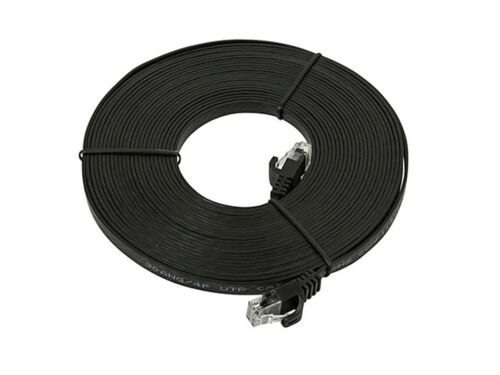 Black 25FT 30AWG Cat5e 350MHz UTP Flat Copper Ethernet Network Cable