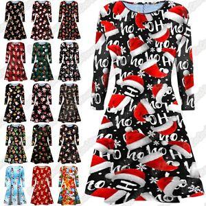 Details about UK Ladies Girls Long Sleeve Santa Christmas Swing Xmas Party  Mini Dress PlusSize
