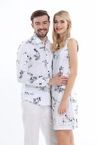 Vintage Classic Couple Matching Shirt Dress Outfit Hawaiian Cruise Family White