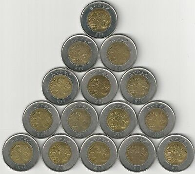 15 Nice Au-unc. Bi-metal 1 Birr Coins W/ Lion From Ethiopia (all Dating 2010) Relieving Rheumatism And Cold