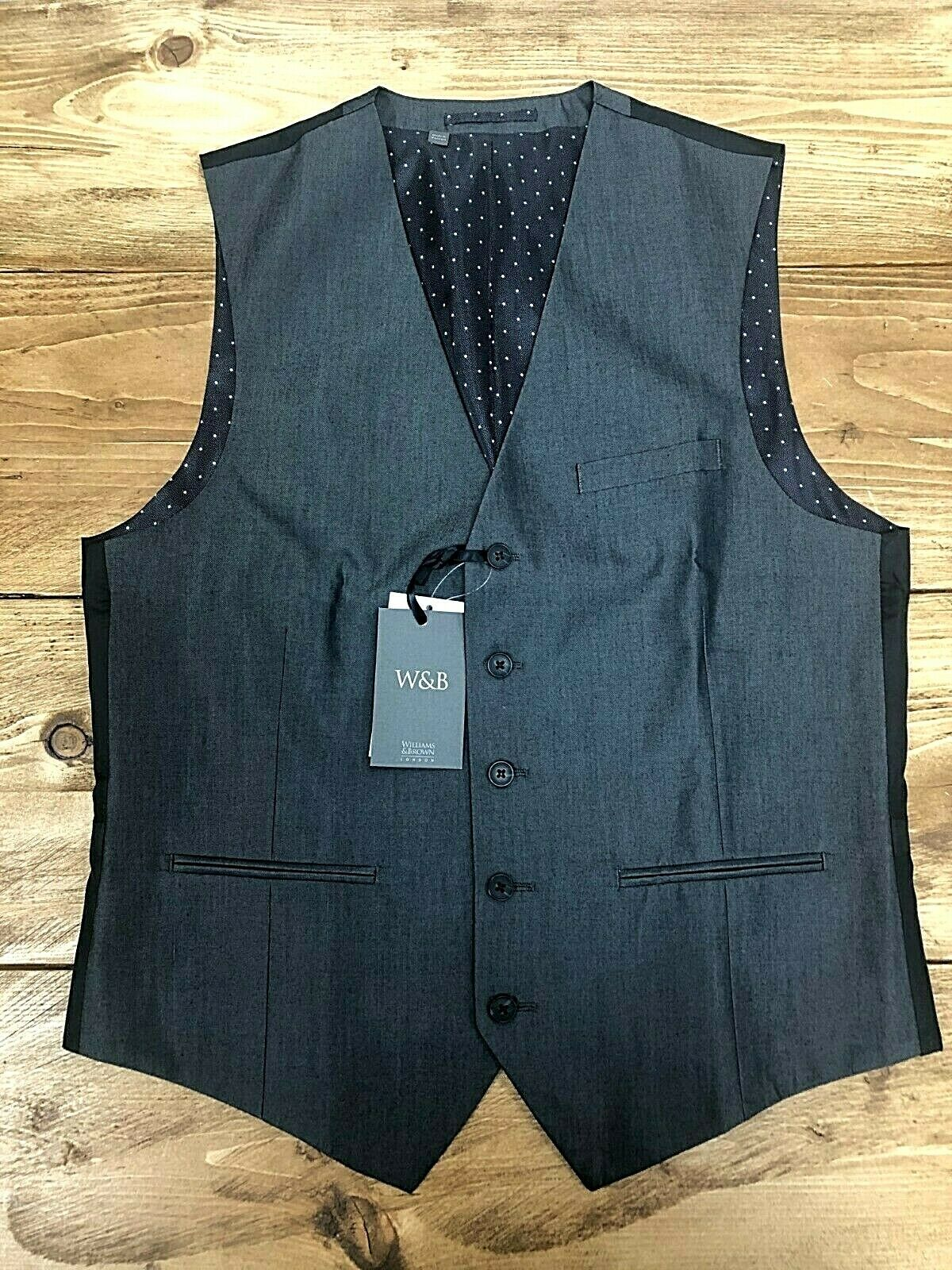 Mens Williams & Brown Charcoal Grey with Polka Dot Lining Waistcoat Size 40R